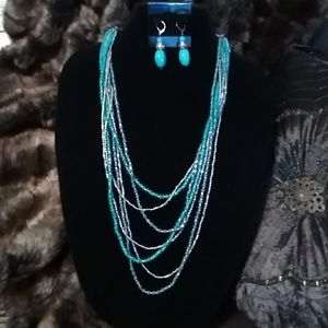 Turquoise & Silver Beaded Set